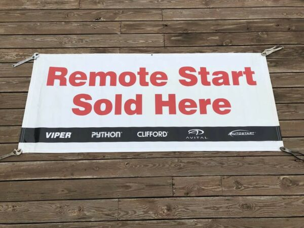 Remote Car Starters Sold Here Advertising Banner Sign 7' x 3' Vinyl Business $59.99