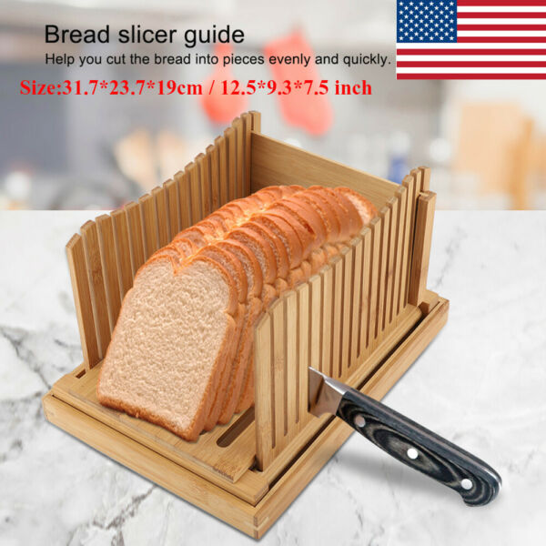 Foldable Bamboo Bread Slicer Guide Wooden Toast Cutting with Crumb Catching Tray