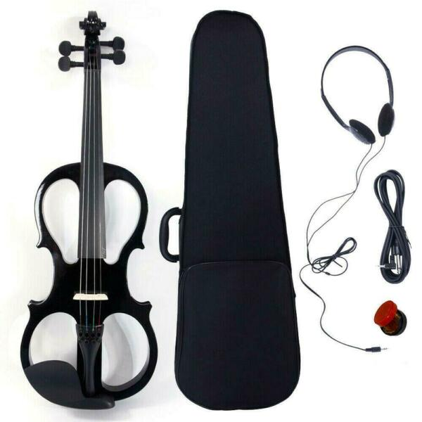 New 4 4 Full Size Spruce Wood Electric Silent Violin Set V 002 Black $54.99