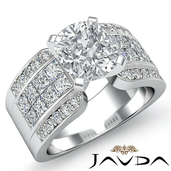 Sturdy Cushion Cut Diamond Pave Engagement Ring GIA F SI1 14k White Gold 2.14 ct