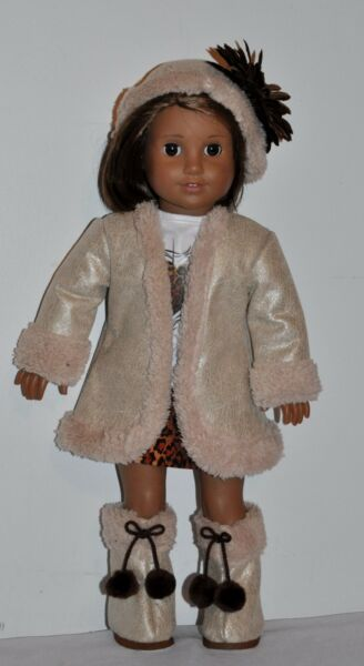 AMERICAN MADE DOLL CLOTHES FOR 18 INCH GIRL DOLLS DRESS LOT SAND COAT AND HAT