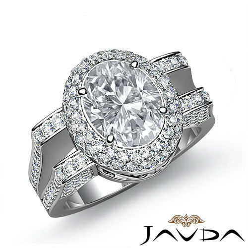 Exquisite Oval Cut Diamond Sturdy Engagement Ring EGL F VS2 14k White Gold 2.1ct