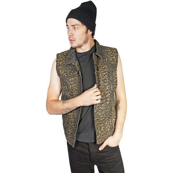 Lip Service Mens Leopard Denim Vest