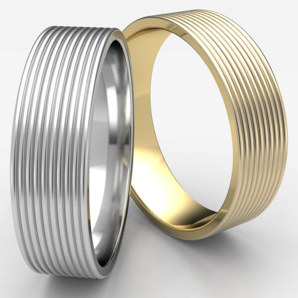 7mm Comfort Fit Threaded Pattern Man Men's Women's Ring 14k Gold Wedding Band