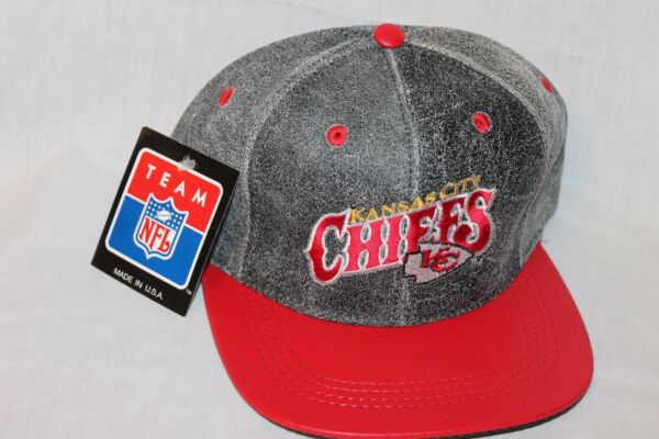 NEW WITH TAGS VINTAGE KANSAS CITY CHIEFS LEATHER MODERN CAP