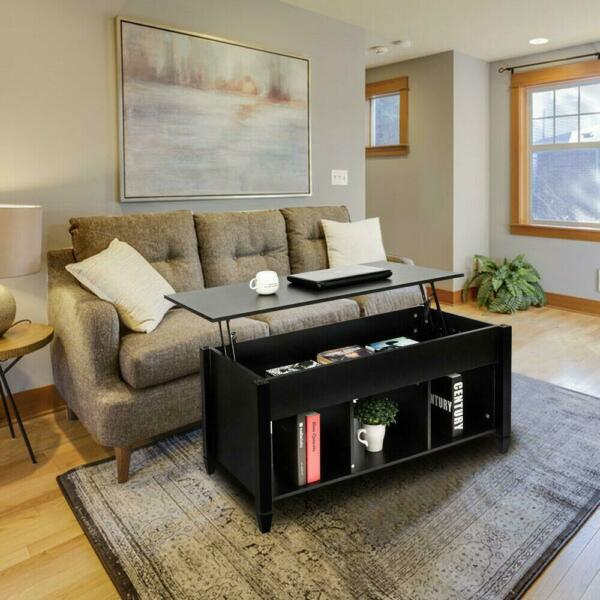 Lift Top Coffee Table Black Home Furniture w/Hidden Storage Compartment