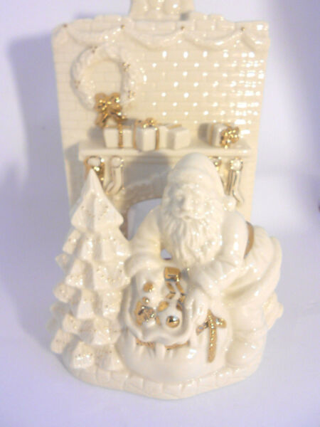 Lenox Santa & Fireplace White Porcelain Tealight Candle Holder w Gold Accents