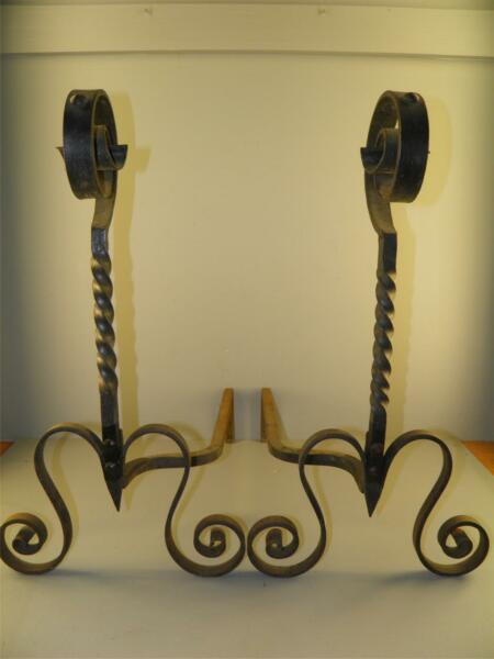 Antique Pr. Arts &Crafts Rustic Wrought Iron Hand Forged Fireplace Andirons 25''