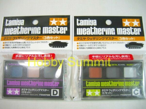 Tamiya 3-color  WEATHERING MASTER  Paint Set C & D   Rust  Oil Stain Burnt Metal