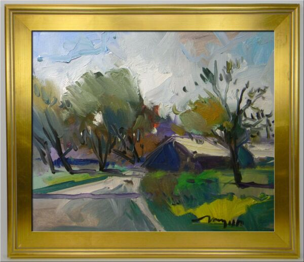 LARGE FRAMED JOSE TRUJILLO IMPRESSIONISM OIL PAINTING HOUSES WOODS TRAIL SIGNED