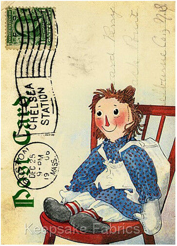 Raggedy Ann Collage Fabric Crazy Quilt Block Free Shipping World WiDe R22 $4.75
