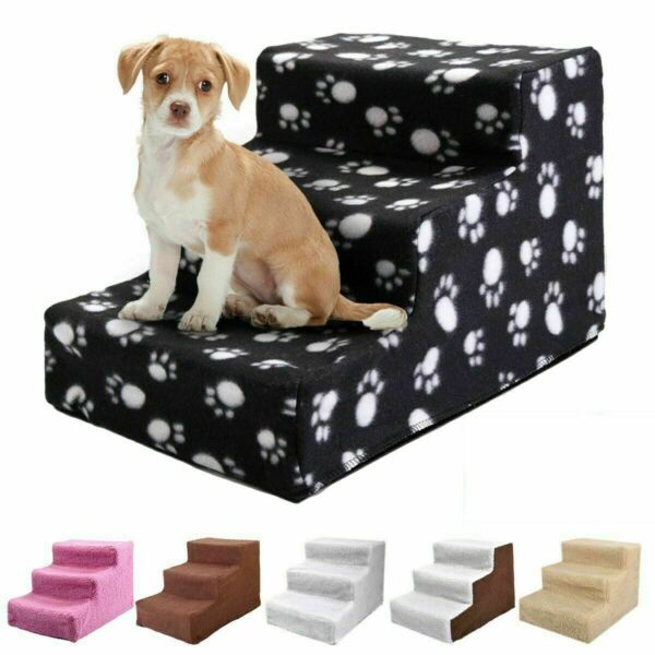 New Plastic Pet Stairs Durable Indoor or Outdoor 3 Step Design White Beige Brown