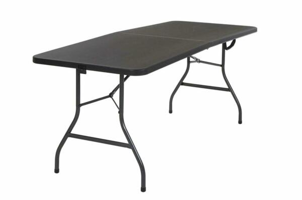 Cosco 14678BLK1 Deluxe 6 Foot x 30 inch Half Blow Molded Folding Table Black...
