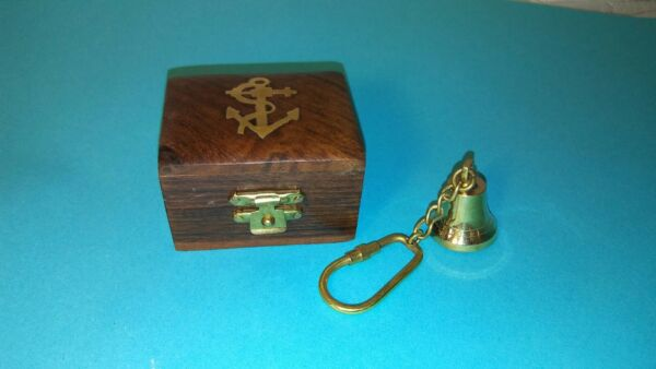 Vintage Sailor Inlay Primitive Wood Jewelry Box W Brass Bell Keychain Hinged Lid