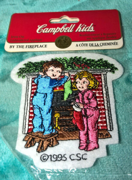 CAMPBELL#x27;S BY THE FIREPLACE IRON ON APPLIQUE CAMPBELL KIDS NEW 3.5quot;