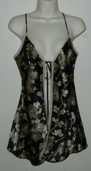 Women Victoria's Secret Intimate Baby-doll Floral Black Ivory Size S