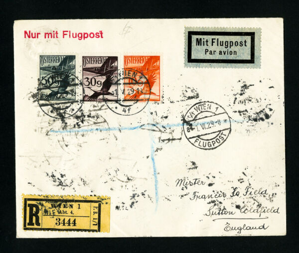 Austria Registered Flight Cover with Stamps on Front and Reverse
