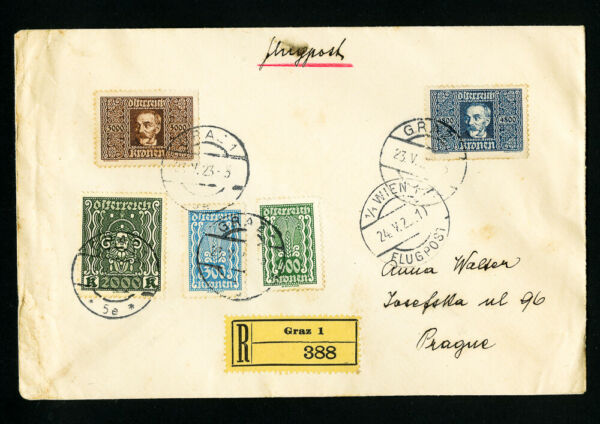 Austria Stamps Registered Flow Cover from Graz to Prague