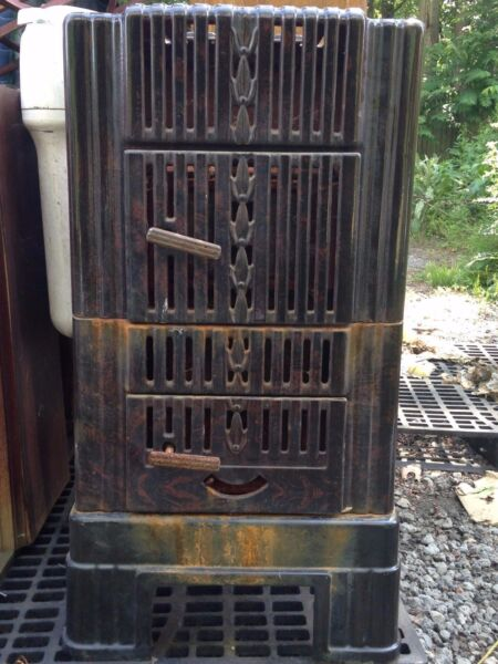 VINTAGE ANTIQUE SEARS WOOD BURNING HEATER DOUBLE CHAMBER MODEL 102.8751 $375.00