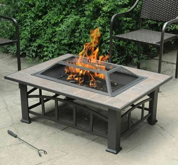 Outdoor Fire Pit Patio Heater Yard Deck Garden Wood Firewood Poker Cover Table