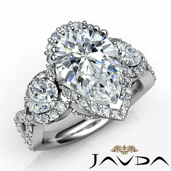 Cross Shank Halo Double Prong 3 Stone Pear Diamond Engagement Wedding Ring 5.7Ct