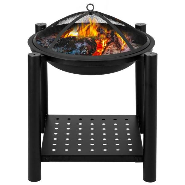 22 inch Outdoor Fire Pit Firepit Bowl Wood Burning Patio Stove w Shelf