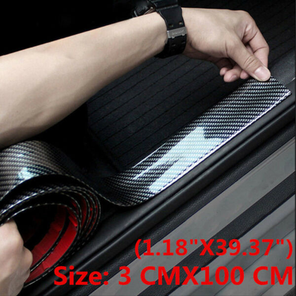 Carbon Fiber Auto Door Plate Car Accessories Cover Anti Scratch Sticker 3cmx1m