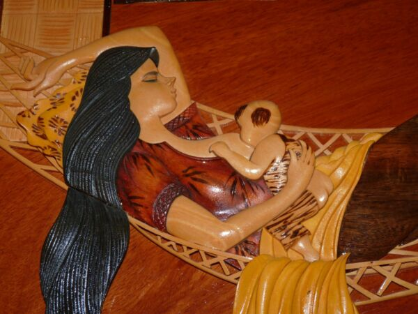 Folk Art Sculpture Woman Mother Breastfeeding Baby Hammock Hawaiian Painting