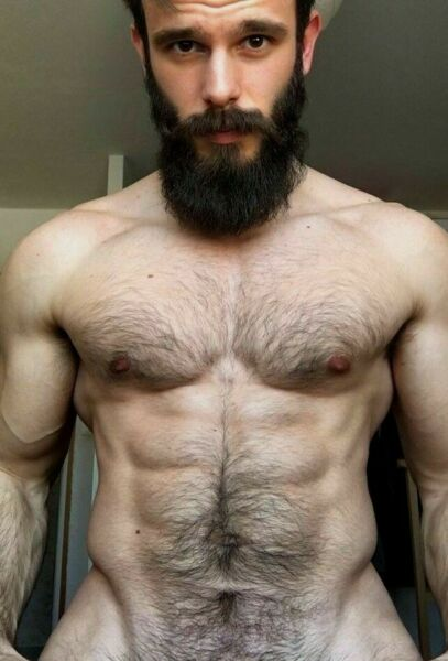 Shirtless Male Beefcake Thick Beard Hairy Chest Abs Ripped Body PHOTO 4X6 F1771