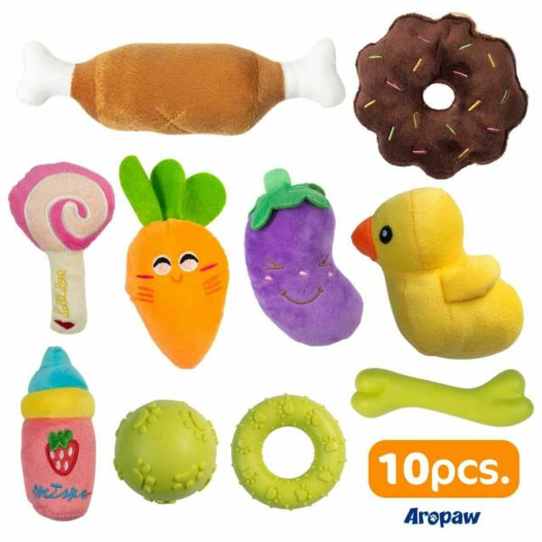 10 Puppy Chew Toys Plush Squeaky Dog Toys Puppy Teething Toys Rubber Bone $15.99