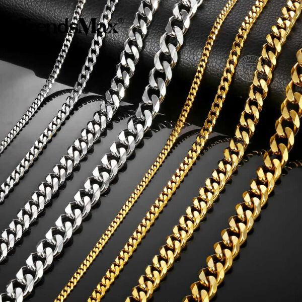 3 5 7 9 11mm Stainless Steel Silver Gold Men Cuban Link Necklace Chain 16 24inch