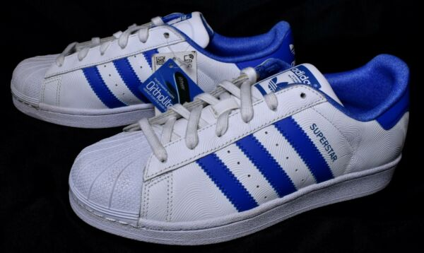 ADIDAS Superstar Sneaker Shoes (Size 7) Blue & White Ortholite Insoles >NEW<