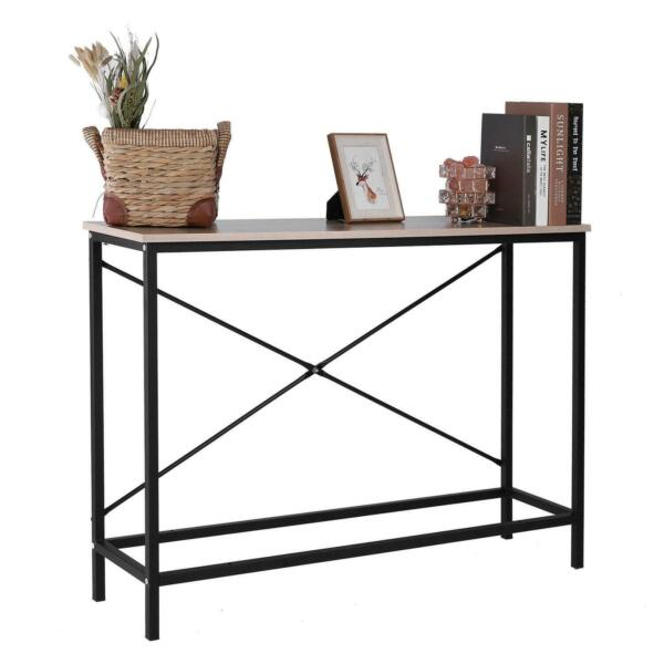 Wood Console Table Modern Sofa Accent with Shelf Stand Entryway Hall Furniture