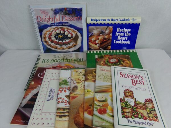 Pampered Chef Cookbook Book & Booklet Lot Season's Best It's Good For You Hearth