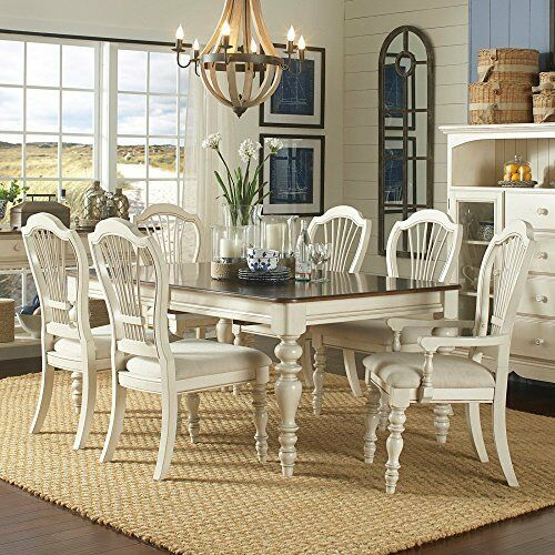 Hillsdale Pine Island 7 PC Dining Set W Wheat Back Chairs Old White 5265DTBRCW7