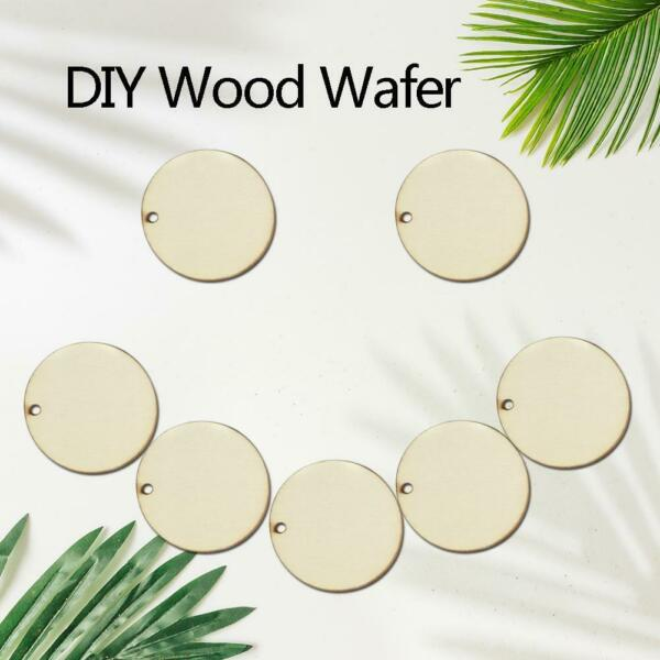 50PCS Plywood DIY Wood Slices Round Ornament for Scrapbooking Paper Crafts Decor