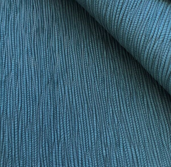 Leather Fabric Sheet for Earrings Crafts - DARK TEAL Palm Leaf embossed 12