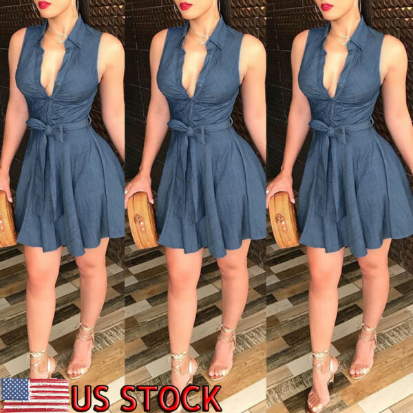 US Womens Summer Bodycon Denim Sleeveless Short Dress Party Evening Mini Dresses