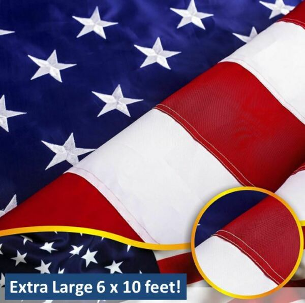 Deluxe American Flag Extra Large Outdoor Independence Day July USA Stars Stripes