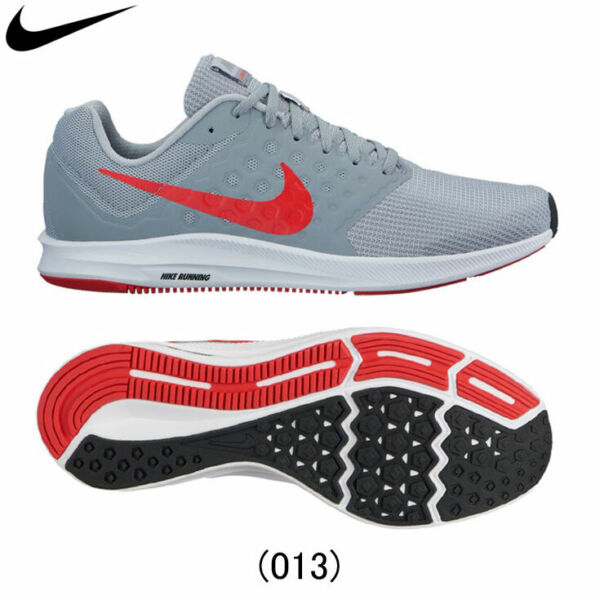 NIB MEN'S NIKE 852459 013 DOWNSHIFTER 7 GREY/RED  RUNNING SNEAKERS SHOES
