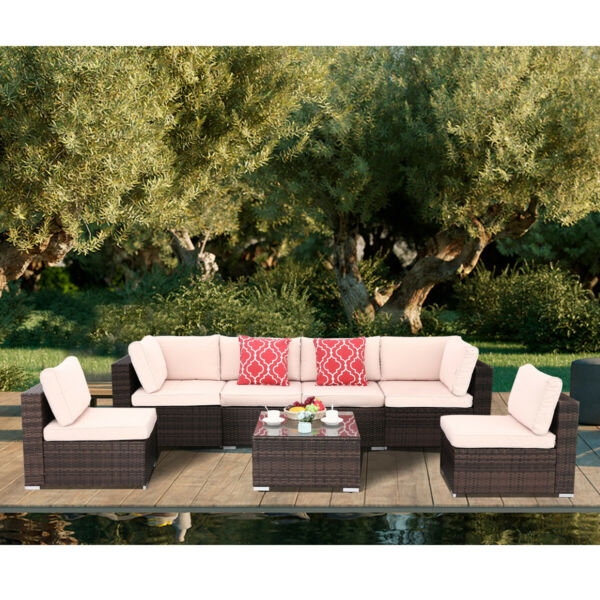 7pcs Outdoor Patio Sofa Set PE Rattan Wicker Sectional Furniture Outside Couch $539.99