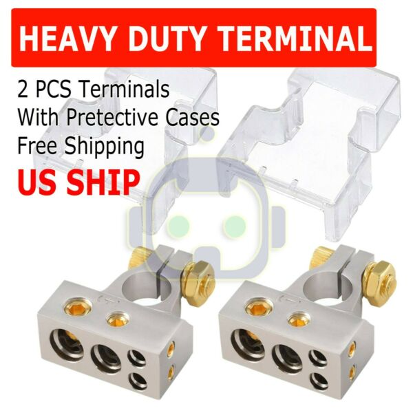 2 Car Battery Terminal Connector Top Post Positive Negative Heavy Duty Universal $7.49