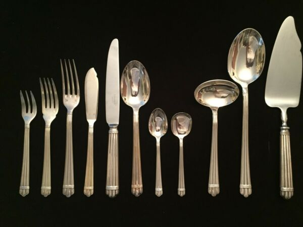 CHRISTOFLE ARIA Silverplate   12 8 piece settings + 3 serving pieces 99 total