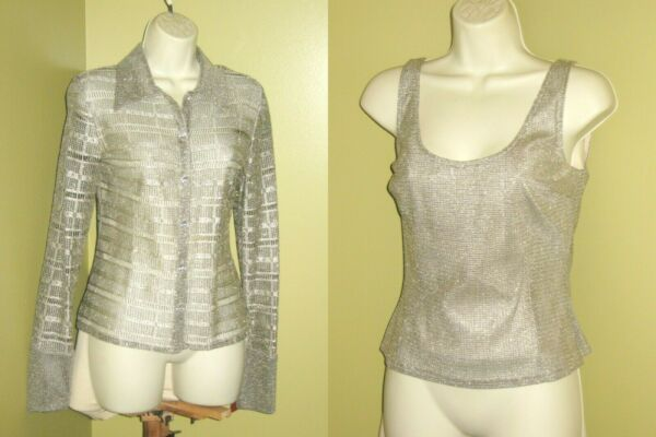 new JS COLLECTIONS sz 12 Lace Metallic Silver Sparkle JACKET TANK TWINSET nwt