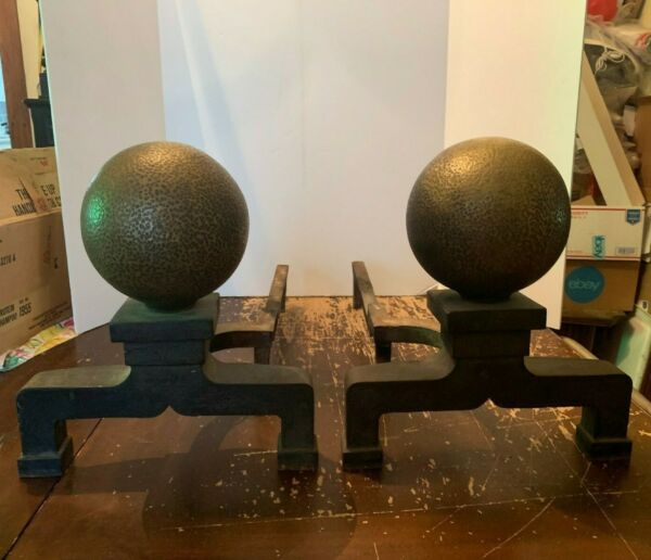 Antique Brass Sphere and Iron Huge Fireplace Andirons