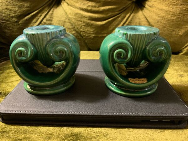 Rare Vintage New Pair of Royal Haeger Pottery Mid Century Candle Holders Green