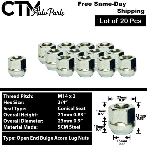 20PC CHROME 14X2 OPEN END WHEEL LUG NUTS FIT F150 Navigator ExpeditionAND MORE