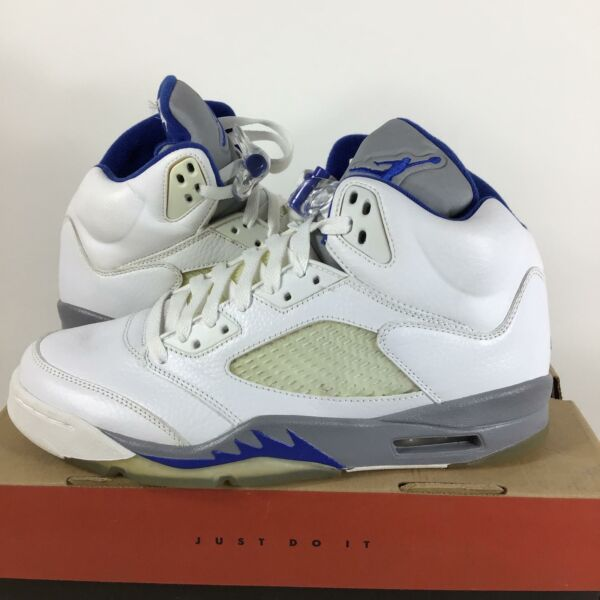 2005 Rare SAMPLE Nike Air Jordan 5 Stealth, Sport Royal, Size 9, 136027142, J7