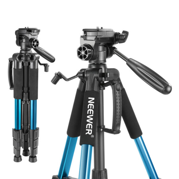 Neewer 56quot; Aluminum Camera Tripod with 3 Way Swivel Pan Head??Carrying Bag