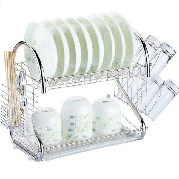 2-Tier Multi-function Stainless Steel Dish Drying RackCup Drainer Strainer